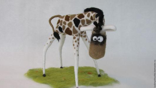 Игрушки животные, ручной работы. Ярмарка Мастеров - ручная работа. Купить Жираф-ля. Handmade. Бежевый, подарок, шерсть