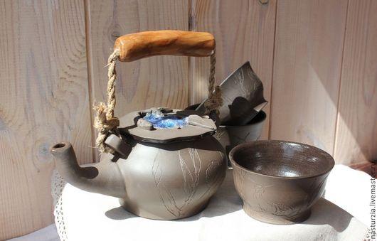 Чайники, кофейники ручной работы. Ярмарка Мастеров - ручная работа. Купить Чайник Улитки и пиалы. Handmade. Темно-серый, чайник