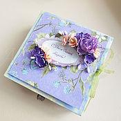"""Свадебный салон ручной работы. Ярмарка Мастеров - ручная работа """"С Днём Вашей свадьбы!"""", сиреневая коробочка для денежного подарка. Handmade."""