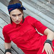 Платья ручной работы. Ярмарка Мастеров - ручная работа Платье-рубашка из льняного полотна. Handmade.