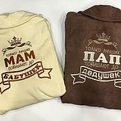 Одежда handmade. Livemaster - original item Set Terry dressing gown for men and women with embroidery. Handmade.