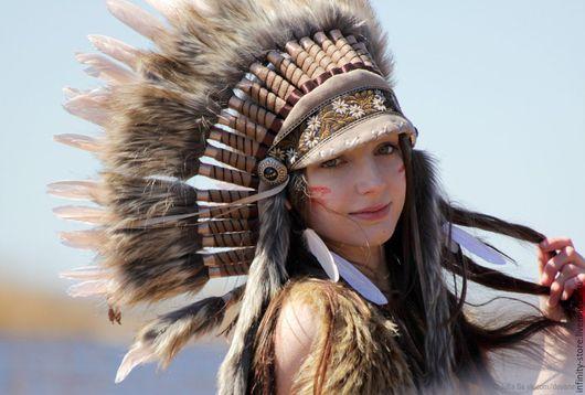 Этническая одежда ручной работы. Ярмарка Мастеров - ручная работа. Купить Индейский головной убор - Весенний Рассвет. Handmade. Бежевый