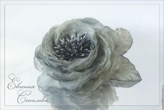 Броши ручной работы. Ярмарка Мастеров - ручная работа. Купить Брошь-цветок Туман. Handmade. Серый, дымка, роза брошь