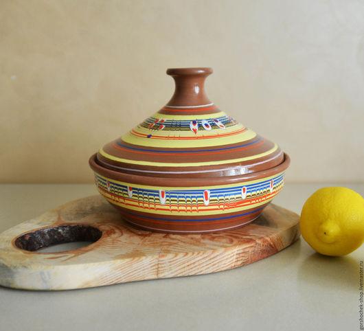 Кухня ручной работы. Ярмарка Мастеров - ручная работа. Купить Тажин расписной (1,3л, 22см). Handmade. Керамика