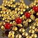 Бусины металлические литые биконической формы Юла в тибетском стиле с покрытием имитирующим светлое золото для сборки украшений комплектами по 10 бусин