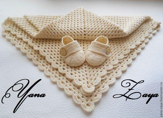 """Пледы и одеяла ручной работы. Ярмарка Мастеров - ручная работа. Купить Комплект для малыша """"Винтаж"""". Handmade. Бежевый, плед для новорожденного"""