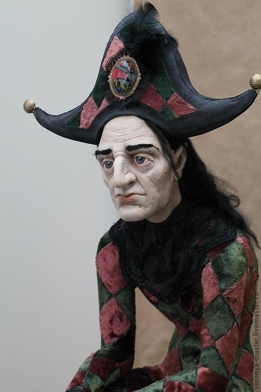 Коллекционные куклы ручной работы. Ярмарка Мастеров - ручная работа. Купить Уставший Арлекин. Handmade. Бордовый, винтаж, циркач