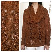 Одежда handmade. Livemaster - original item Sweater and Snood womens amber, tying beads, brown, mohair. Handmade.