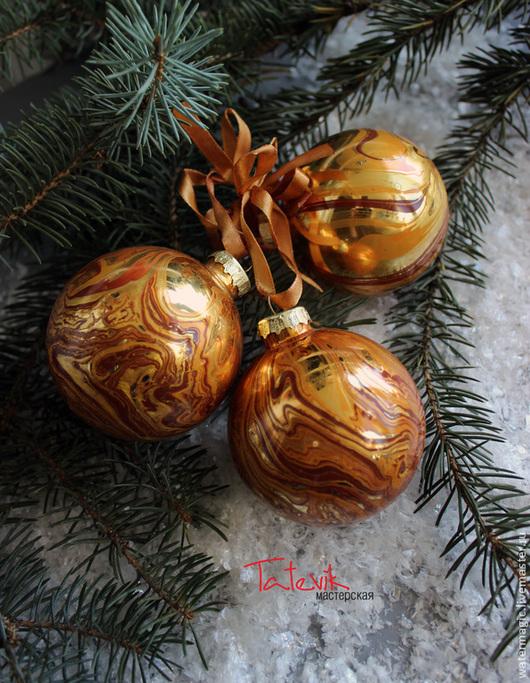 """Новый год 2017 ручной работы. Ярмарка Мастеров - ручная работа. Купить """"Золотые"""" Волшебные шары на елку. Handmade. Елочная игрушка"""