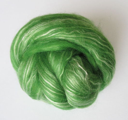 Валяние ручной работы. Ярмарка Мастеров - ручная работа. Купить Смесь Шерсть 80% + Шелк Малбери белый 20% - Зеленый. Handmade.
