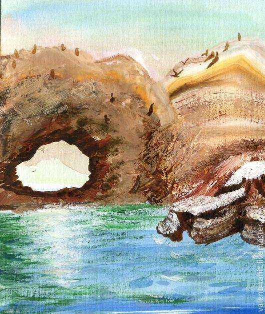 """Пейзаж ручной работы. Ярмарка Мастеров - ручная работа. Купить картина """"Туннель в горах"""" (коричневый, голубой). Handmade. Коричневый, горы"""