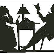 Материалы для творчества ручной работы. Ярмарка Мастеров - ручная работа Пушкин с няней. Авторская схема для вышивки крестом.. Handmade.