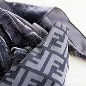 """Аксессуары handmade. Livemaster - original item Платок каре из ткани FENDI """"Monogram luxury"""" серый. Handmade."""