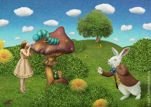 """Фотокартины ручной работы. Ярмарка Мастеров - ручная работа. Купить Фотосказка """"Алиса в стране чудес"""". Handmade. Разноцветный, фотоколлаж, гриб"""