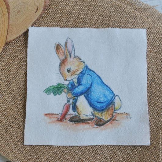 Купон Кролик Поттер с морковкой, лен 15х15см, 3141