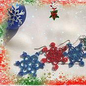 Украшения handmade. Livemaster - original item Lace earrings tatting Snowflakes. Handmade.
