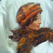 Аксессуары ручной работы. Ярмарка Мастеров - ручная работа Комплект берет и шарф вязаные. Handmade.