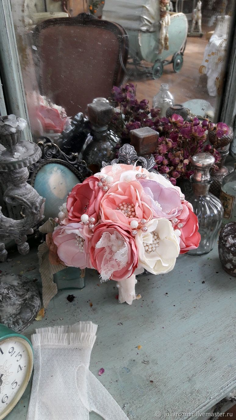 Wedding Brooch Bouquet Pink With Lace A Bouquet Of Fabric Shop