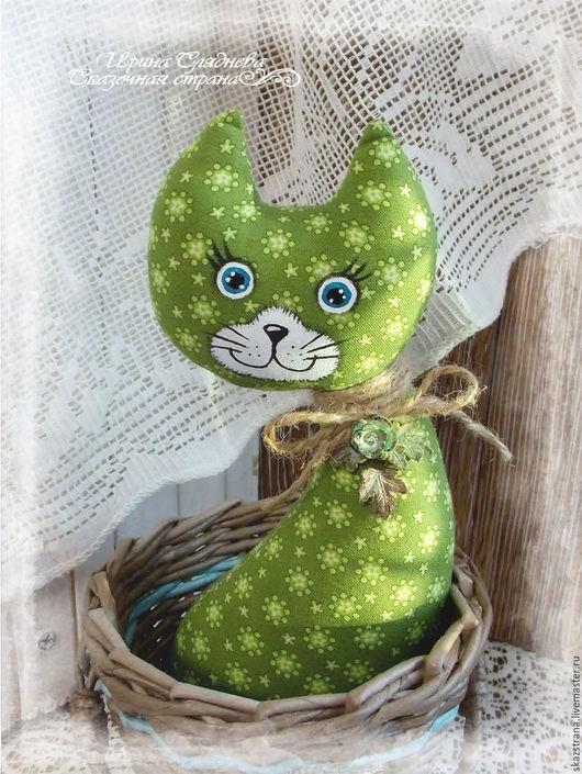 Кухня ручной работы. Ярмарка Мастеров - ручная работа. Купить Кошка в лукошке. Handmade. Зеленый, игрушка интерьерная, корзиночка