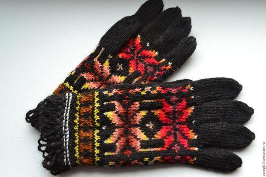 Варежки, митенки, перчатки ручной работы. Ярмарка Мастеров - ручная работа. Купить Женские вязаные перчатки ручной работы с орнаментом. Handmade.