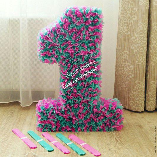 Бирюза с розовым, высота 60 см