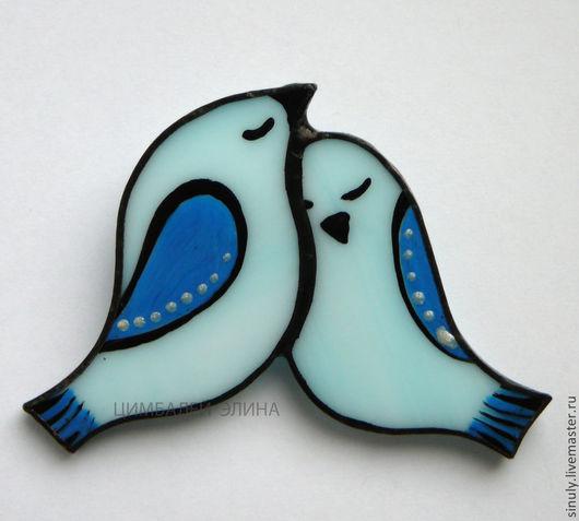 """Броши ручной работы. Ярмарка Мастеров - ручная работа. Купить Брошь """"Любовь...."""". Handmade. Голубой, брошь из стекла"""