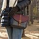 Женские сумки ручной работы. Ярмарка Мастеров - ручная работа. Купить Кожаная сумка на плечо. Тёмно-синий, коричневый.. Handmade.