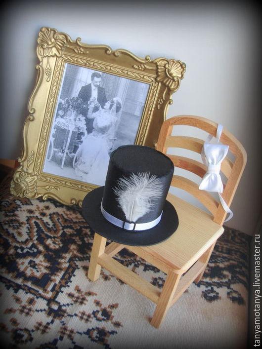 Одежда для кукол ручной работы. Ярмарка Мастеров - ручная работа. Купить Цилиндр и бабочка. Handmade. Черный, пономаренко татьяна, перо