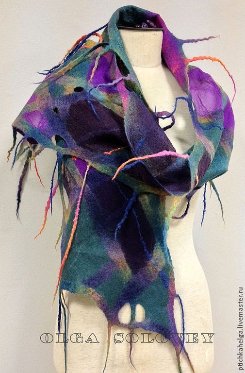 Шарфы и шарфики ручной работы. Ярмарка Мастеров - ручная работа. Купить шарф БИРЮЗОВАЯ РАДУГА. Handmade. Тёмно-бирюзовый, handmade