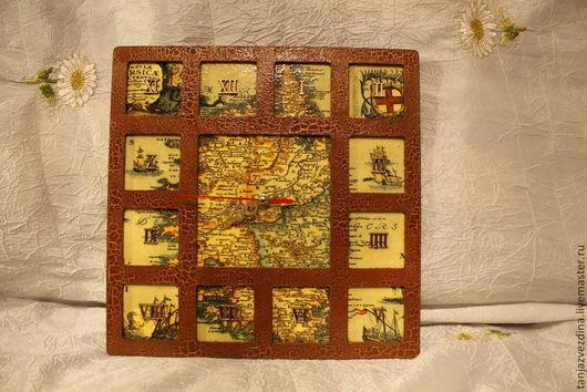"""Часы для дома ручной работы. Ярмарка Мастеров - ручная работа. Купить Часы """"Кругосветное путешествие"""". Handmade. Разноцветный, часы декупаж"""