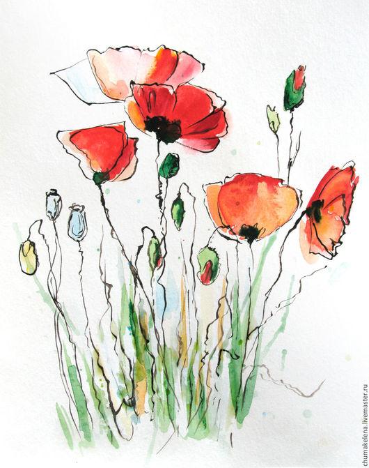 Картины цветов ручной работы. Ярмарка Мастеров - ручная работа. Купить «Маки», картина, акварель. Handmade. Картина в подарок, фламинго
