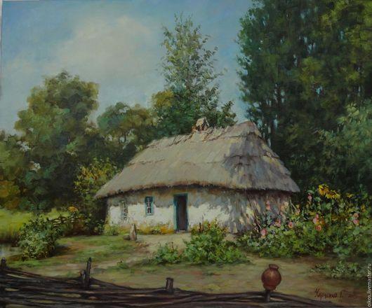 Пейзаж ручной работы. Ярмарка Мастеров - ручная работа. Купить Картина маслом на холсте летний пейзаж с деревенским домиком. Handmade.