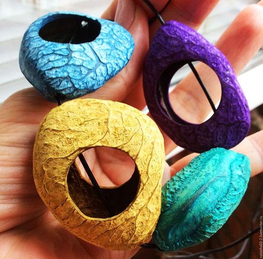 """Для украшений ручной работы. Ярмарка Мастеров - ручная работа. Купить Орех """"ПАНГИ""""  БУСИНЫ - РАМКИ 4 цвета. Handmade."""