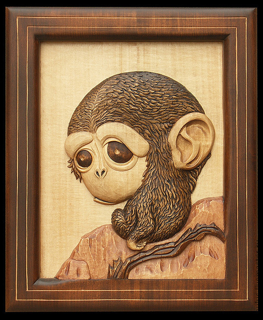 """Животные ручной работы. Ярмарка Мастеров - ручная работа. Купить картина из дерева """"Мартышка"""". Handmade. Коричневый, животные, лак"""