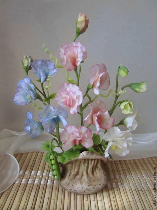 Интерьерные композиции ручной работы. Ярмарка Мастеров - ручная работа. Купить Цветной горошек. Handmade. Розовый, белый, цветы