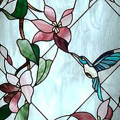 Для дома и интерьера handmade. Livemaster - original item Stained Glass Hummingbird. Film stained glass in a niche with lighting. Handmade.