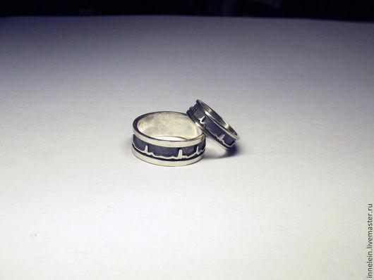 """Кольца ручной работы. Ярмарка Мастеров - ручная работа. Купить Серебряное кольцо """"Кардиограмма"""". Handmade. Серебряный, кольцо с кардиограммой, для свадьбы"""