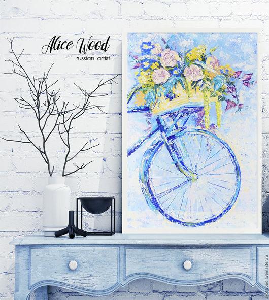 Alice Wood / Картины цветов ручной работы. Ярмарка Мастеров - ручная работа. Купить картину Цветочная почта. Картина с цветами. Картина с велосипедом. Цветы. Прованс. Handmade