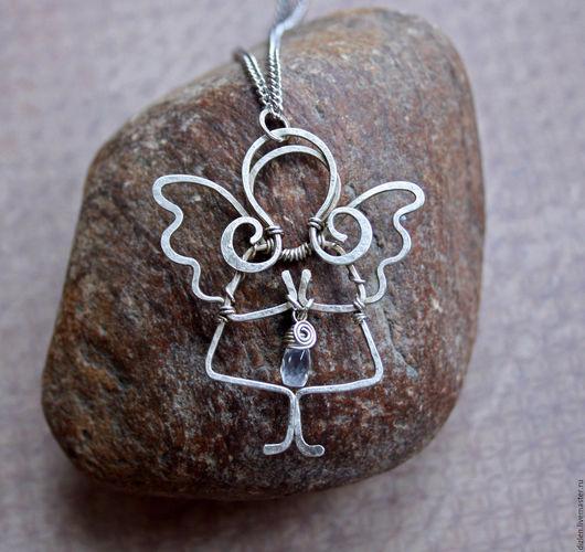 кулон из меди ручной работы нейзильбер ангел ангелочек адуляр оригинальный кулончик подвеска  купить wirewrap медный