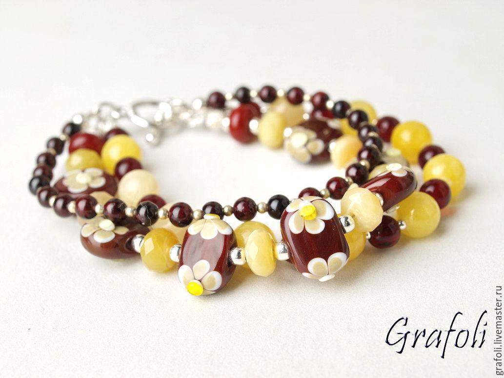 Bracelet stones yellow-Burgundy, Bead bracelet, Moscow,  Фото №1