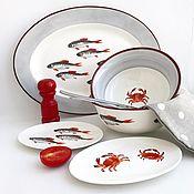 Посуда handmade. Livemaster - original item Plates: Porcelain painting, table Service in Santorini. Handmade.