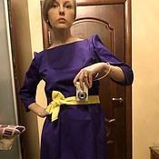 """Одежда ручной работы. Ярмарка Мастеров - ручная работа Платье """"Фиолетовое очарование"""" из плотного хлопка силуэт А. Handmade."""