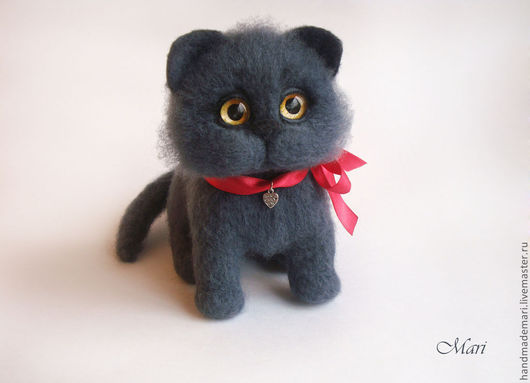 Игрушки животные, ручной работы. Ярмарка Мастеров - ручная работа. Купить Британский котик игрушка из войлока, шерсти. Handmade. Серый