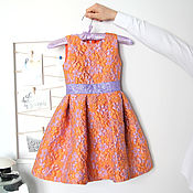Одежда детская handmade. Livemaster - original item Orange elegant dress for girls made of jacquard height 116-122. Handmade.