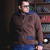 Мужская одежда handmade. Livemaster - original item Brown collared sweatshirt, men`s winter sweatshirt with jeans. Handmade.
