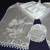 """Towels handmade. Livemaster - original item Свадебный комплект """"Белое по белому"""". Handmade."""