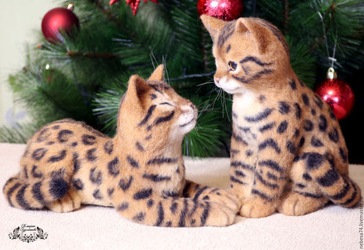 Игрушки животные, ручной работы. Ярмарка Мастеров - ручная работа. Купить Бенгальские котята (игрушки из войлока, валяние). Handmade. Котенок