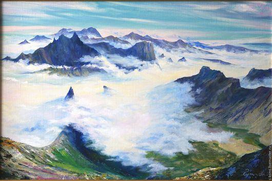 Пейзаж ручной работы. Ярмарка Мастеров - ручная работа. Купить Картина маслом на холсте Над облаками. Handmade. Комбинированный, горы