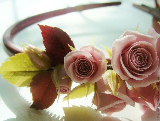 """Диадемы, обручи ручной работы. Ярмарка Мастеров - ручная работа. Купить Ободок """"Любимый цвет"""". Handmade. Бледно-розовый"""