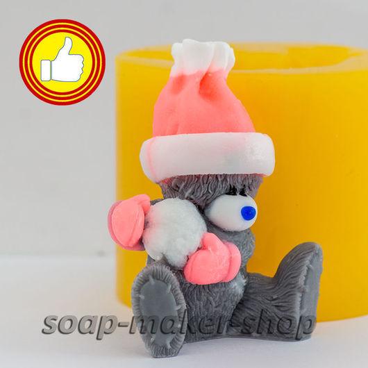 Материалы для косметики ручной работы. Ярмарка Мастеров - ручная работа. Купить Силиконовая форма для мыла «Тедди со снежком 3D». Handmade.